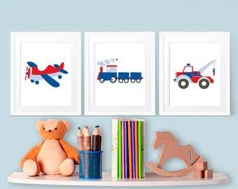 Art for Kids, Train, Plane, Truck, Boys Wall Art, Printable Art, 8x10 Prints, Childrens Room Art, INSTANT DOWNLOAD