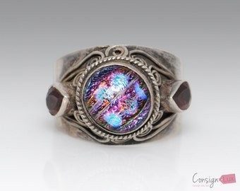 Sterling Silver Iridescent Ring - Size 11.5