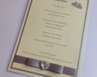 A5 and A4 Wedding table menu cards wedding stationery