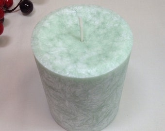 Beautiful Fruity Palm Wax Pillar Candle 3 inches by 4 inches