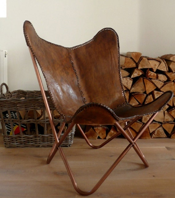 Hand Made Butterfly Chair , Leather Chair  Rich Brown