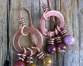 handmade copper earrings with mookaite jasper beads