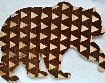 wooden bear triangle cutout animal