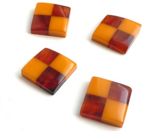 Vintage Bakelite Cabochon Stones, Swank, checkered, butterscotch, tortoise - 20x20mm - 4 pcs - A50