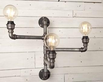 3 Bulb Industrial Wall Light