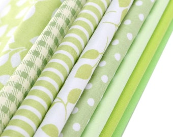Cotton canvas green patchwork fabrics