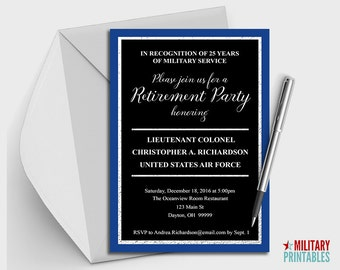 Air Force Retirement Party Invitation Printable Editable Invitation Retirement Party Military Retirement Air Force Retirement Air Force Gift