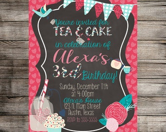 Tea and Cake Birthday Invitation, Tea and Cake Birthday, Tea Birthday Party, Chic Birthday Invitation, Tea Party Invite Printable Invitation