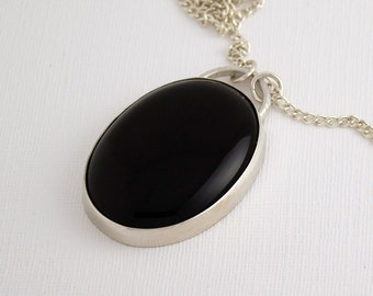 Large Sterling Silver and Onyx Pendant
