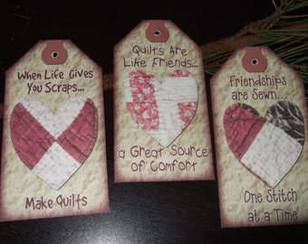 SIX Vintage Quilt Primitive Heart Hang Tags / Gift Tags