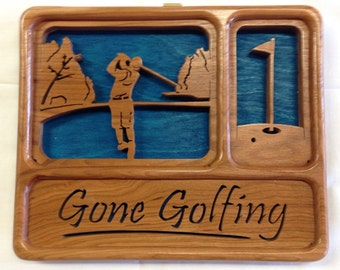 Self-Framing Gone Golfing Plaque - Cherry