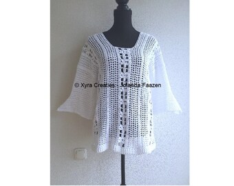PATR1073 - Xyra Crochet-pattern - Summer shirt with or without three-quarter sleeves (English-US & Dutch)