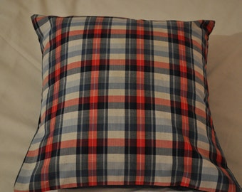 "Handmade Tartan Pillow Cover, Tartan Cushion Cover, Blue Red Tartan Pillow Cover 16"" Tartan Pillow Cover, Decorative Pillow Cover."