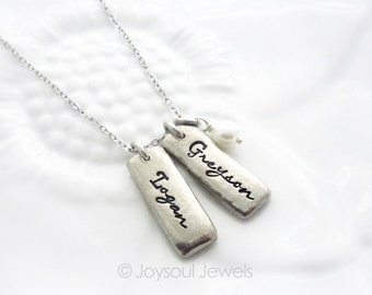 Mother's Day Gift - Personalized Name Tag Necklace - Custom Name Jewelry - Mom Necklace - Child Name Necklace - Pewter Name Tag Necklace