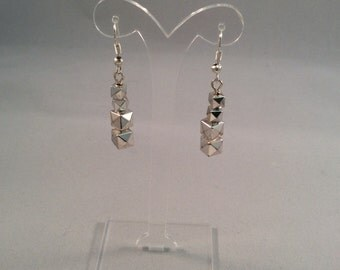 Silver Stacked Faceted Dangle Earrings