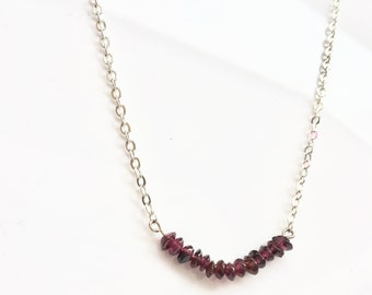 Ruby bar necklace, bar necklace, ruby necklace, raw ruby necklace, gemstone necklace,