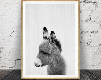 Donkey Print, Nursery Animal Wall Art, Baby Shower Gift, Kids Room Poster, Printable Digital Download, Cute Baby Nursery Donkey Wall Art