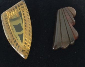 Two Art Deco Bakelite Dress/Scarf Clips