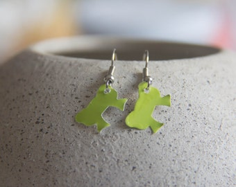 Green Paint Chip Bow Earrings