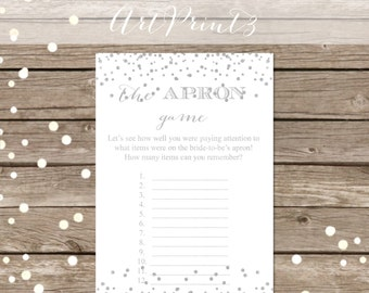 The Apron Game Printable, Bridal Shower Game Printable, Silver Confetti Bridal Apron Game Printable, Bridal Shower Apron Game Printable