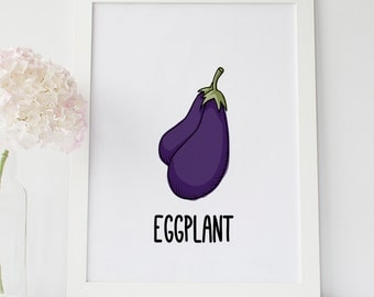 Eggplant Art Print Eggplant Illustration Kitchen Wall Art Kitchen Wall Decor Kitchen