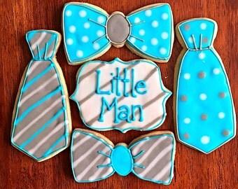 One Dozen - Baby Boy Shower Cookies - Newborn Baby - Bow Tie Cookies - Little Man Cookie - Pregnancy Gift - Blue and Grey Baby Shower