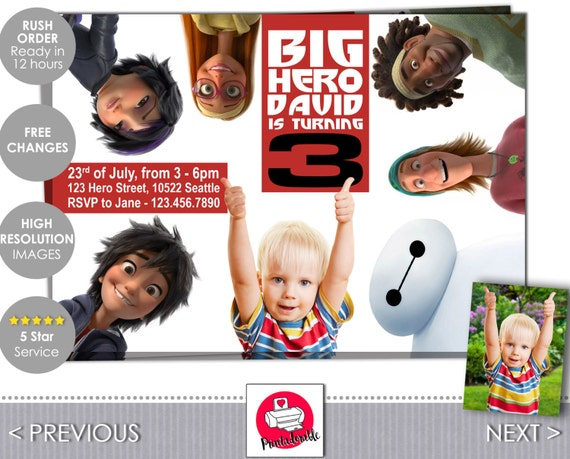 Big Hero 6 Invitation - Disney Birthday Invite - Baymax and All the Super Heroes Invitation - by Printadorable
