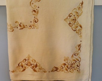 Vintage 47 in. x 62 in. Varigated Brown Color Cross Stitch Embroidered Tablecloth, Vintage Tablecloth
