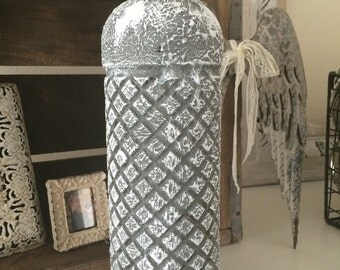 Distressed grey bottle , home decor , textured
