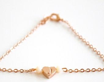 Rose gold initial bracelet, heart initial, heart bracelet, rose gold heart, Valentinesday present, bridesmaids gift, babyshower present
