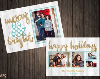 Merry & Bright Glitter 2 Sided Photo Holiday/Christmas Card (25)