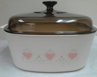 Corning Ware Forever Yours 5 Liter beige casserole with amber lid A-5-B