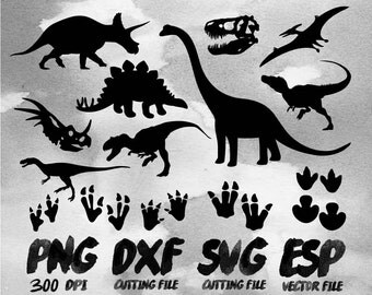 Dinosaur Silhouette Clipart , SVG Cutting , ESP Vectors files , T shirt , iron on , sticker ,Personal Use