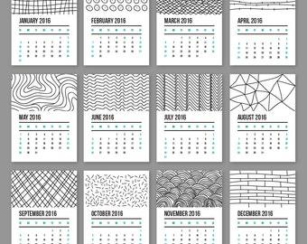 2016 Black and White Wall Calendar