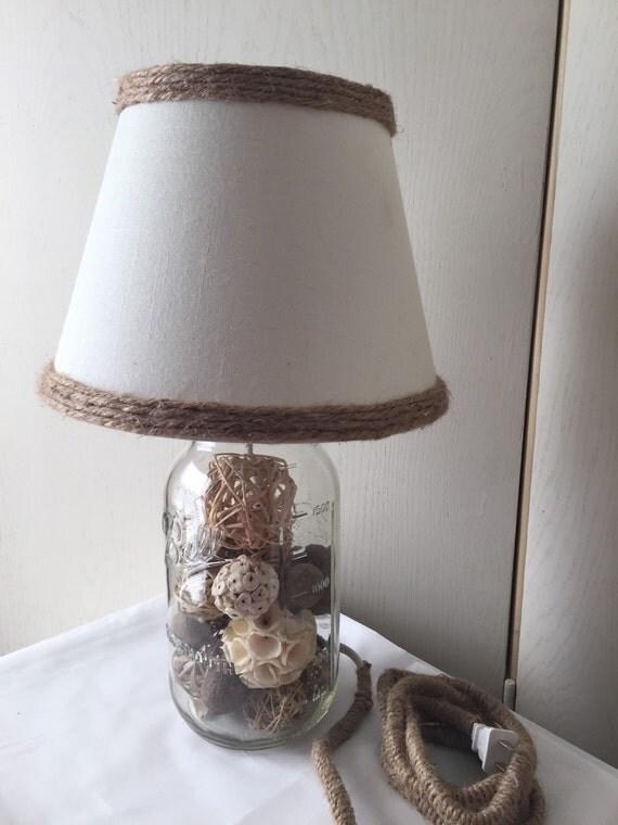 mason jar light with handmade shade mason jar lamp house warming. Black Bedroom Furniture Sets. Home Design Ideas