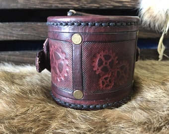 Steam punk antiqued leather cuff with sheep skin lining