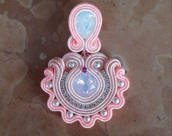 Soutache pink Wave earrings