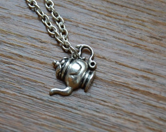 Antique Teapot Charm Necklace, Teapot Jewelry, Teapot Charm on Silver Plated Chain, Lovers of Tea or British Culture