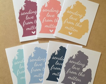 Michigan Card.  Sending Love from the Mitten.  Michigan State Love Card.
