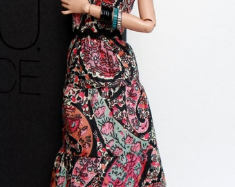 Boho long dress Pink Paisely