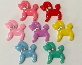 7 Pieces Poodle Dog, Rhinestone Collar Cabochons - Kawaii Decoden Flatback Resin (TDK-C1500)