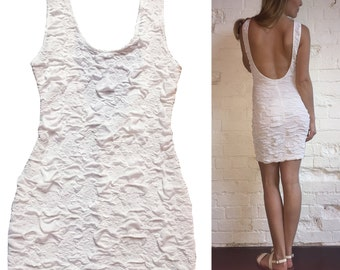 Backless Fitted White Mini Dress