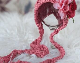 Newborn, baby, photo prop ,knitted,bonnet,handmade baby girl pink flower hat