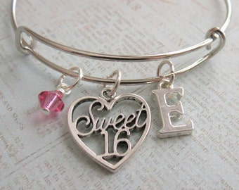 Sweet 16 Charm Bracelet, Expandable Bangle, Personalized, Gift, Initial Charm, Sweet Sixteen Bracelet, Sweet 16 Gift, Sweet 16 Birthday