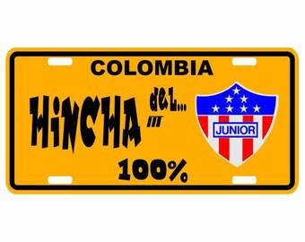 Hincha del Junior 100% - Colombia Decorative License Plate - Placa Football