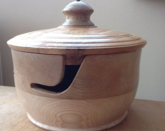 Wooden Yarn Bowl with lid