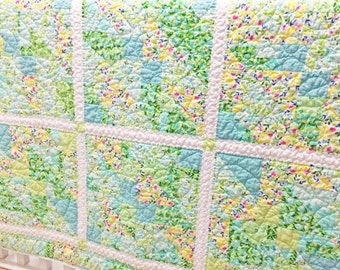 Twin Size Quilt, Handmade Spring Throw Quilt, Teal Blue Green Yellow Lap Quilt, Bright Colorful Twin Bed Quilt, Summer Floral Quilt