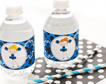 Blue and Black Cheerleader Printable Water Bottle Wrappers, Cheer Bottle Labels, Instant Download, Cheerleader Printable Party Wrappers