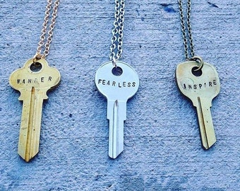 Vintage Hand-Stamped Key Necklace, Key Necklace, Custom Key, Vintage, Chic, Recycled, Jewelry,