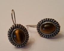 Vintage Tiger Eye Avon Hook Earring Silver Plated